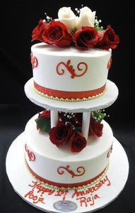 whip cream, wedding, red, scrollwork