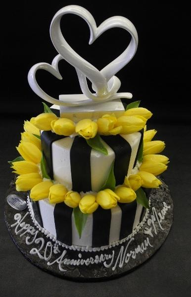 black, white, yellow, fresh flowers