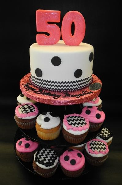 50th Birthday Fondant Cake with Polka Dots and Chevron Print