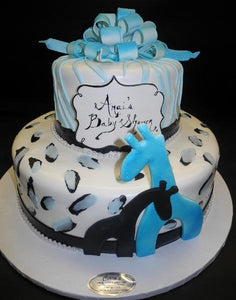 Safari Blue and Black Baby Shower Cake with Edible Giraffe Cut-Outs