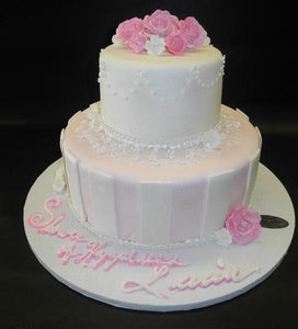 Bridal Shower  Pink and Ivory Fondant Cake