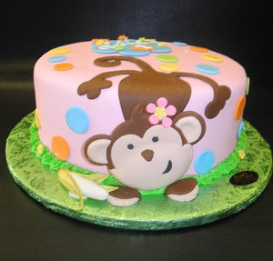 Excellent Monkey Pink With Polka Dots 1St Birthday Pink Fondant Cake B0050 Funny Birthday Cards Online Alyptdamsfinfo