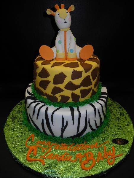 Two-tier Safari Baby Shower Cake with Edible Fondant Giraffe