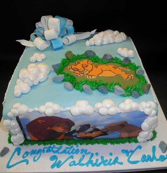 Simba Lion King Baby Shower Cake with Edible Images