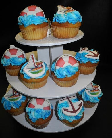 Vanilla Cupcakes with Fondant Sailboat, Nautical, blue icing cupcakes