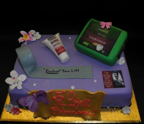 Fondant Custom Cake With Edible Accessories, Duck Tape, Face Lift Cream, Diaper Box