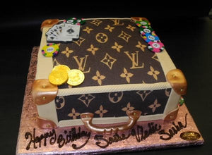 Loui Vuitton Suitcase with Poker Cards and Edible Chips