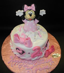 Minnie Mouse Popping Out of Cake with Edible Fondant Number