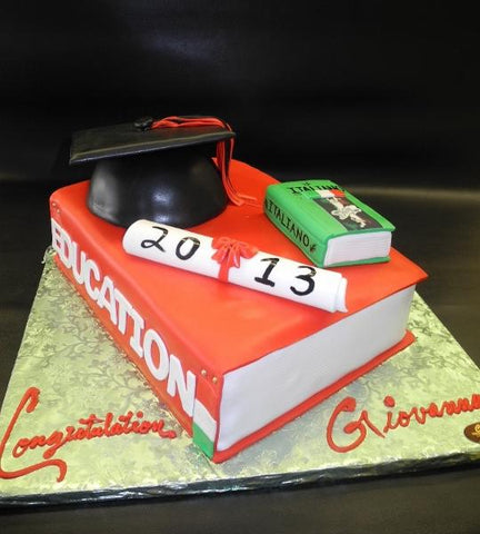 Graduation Book Cake with Edible Diploma and Cap