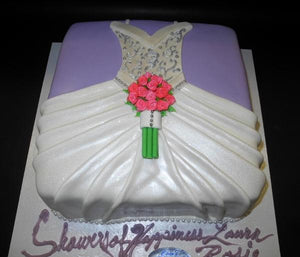 Dress Shape Bridal Shower Fondant Cake with Lavender and white decorations