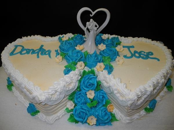 Heart Shape Whip Cream Wedding Cake