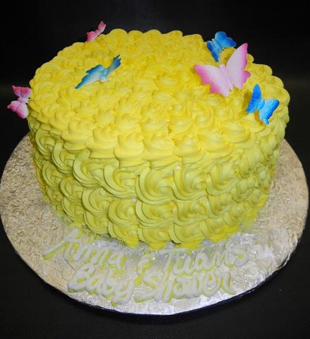 Rosebud Yellow Cream Baby Shower Cake with Edile Butterflies