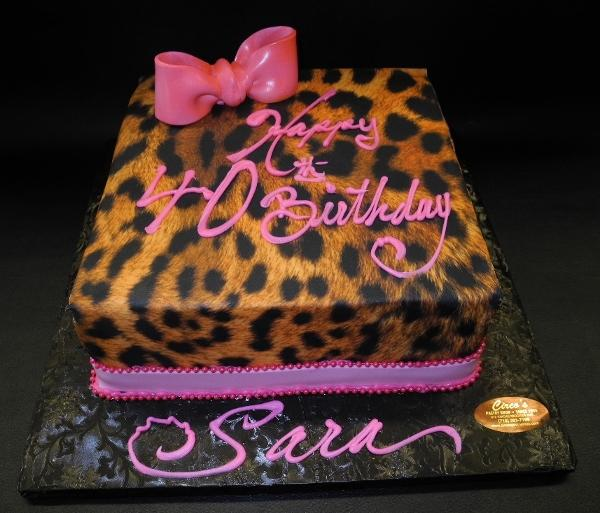 Cheetah Print Fondant Cake with Pink Bow