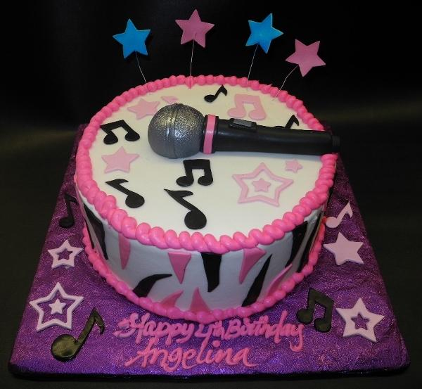 Musical Cake with Edible Microphone and Notes