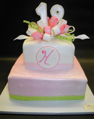 Pink and Mint Green Fondant 18th Birthday Cake