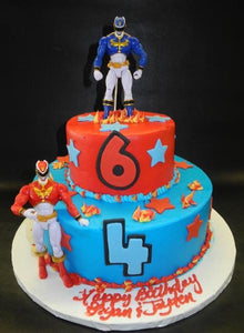 Power Rangers Icing Cake with Fondant Stars and fondant numbers