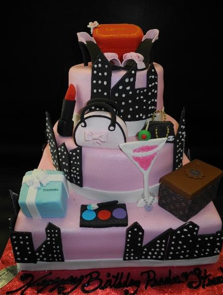 Sex in The City Cake With Fondant Accessories