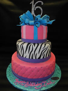 Sweet 16 Fondant Cake with Edible Bow and Zebra Print