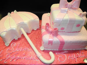 Umbrella and Gift Box Fondant Baby Shower Cake with Pink and White Decorations