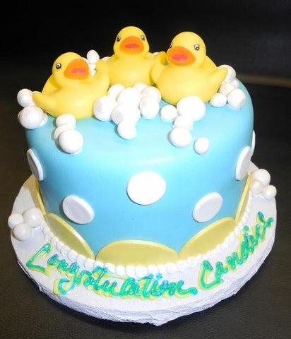 Rubber Duckies Fondant Baby Shower One-tier Cake