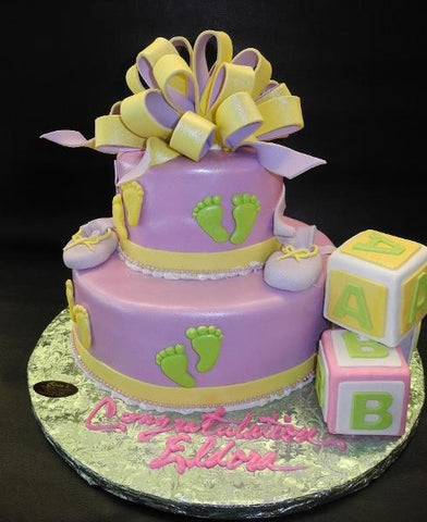 Lavender Baby Shower Cake with Edible Blocks and Loop Bow