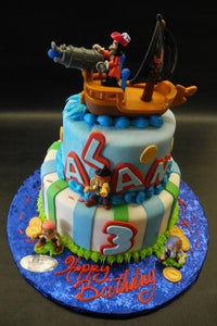 Jake the Pirate Fondant birthday Cake with toys to decorate