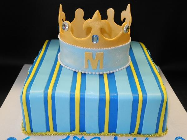 Edible Crown Prince First Birthday Fondant Cake