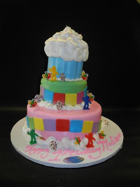 Fondant Cupcake Cake with Candy Land Colors