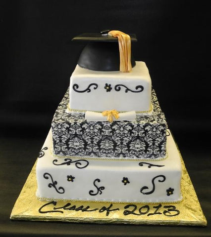 Graduation Black and Gold Cake with Edible Graduation Cap