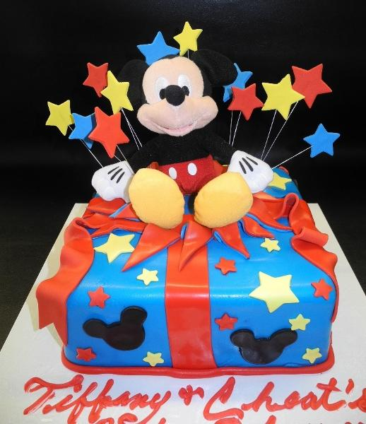 Mickey Mouse Popping Out  Fondant Cake with Edible Stars