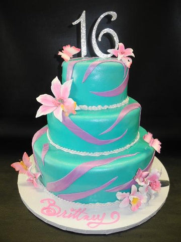 Turquoise and Pink Sweet 16 Fondant Cake with Sugsr Flowers