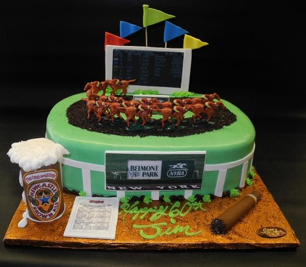 Horse Race Track Fondant Cake with Edible Cigar and Beer Mug