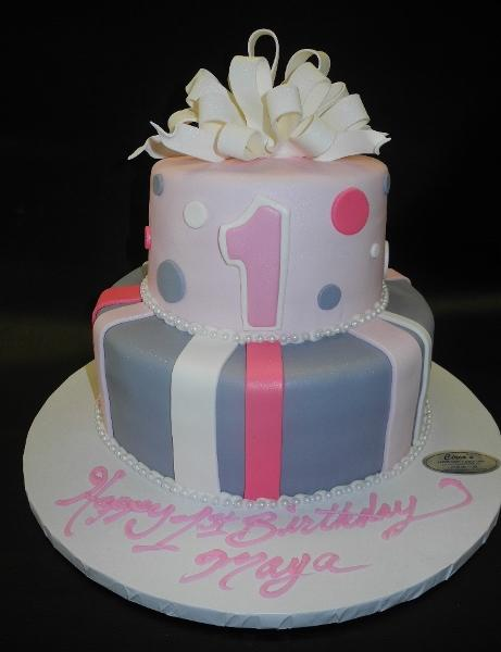 1st Birthday Fondant Cake with Pink, Lavender and white decorations