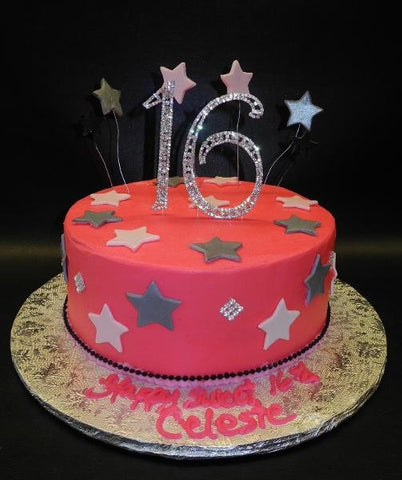 Icing Cake with Fondant Stars and Diamond Sweet 16 Ornament