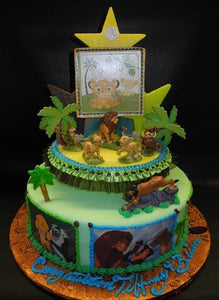 Lion King Baby Shower Fondant Cake with Edible Image Around