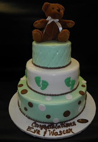 Teddy Bear Mint Green and Brown Baby Shower Cake