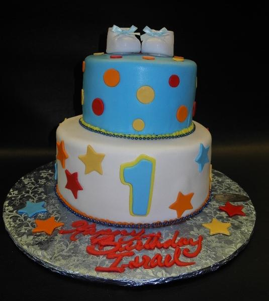 1st Birthday Fondant Cake with Stars and Polka Dots