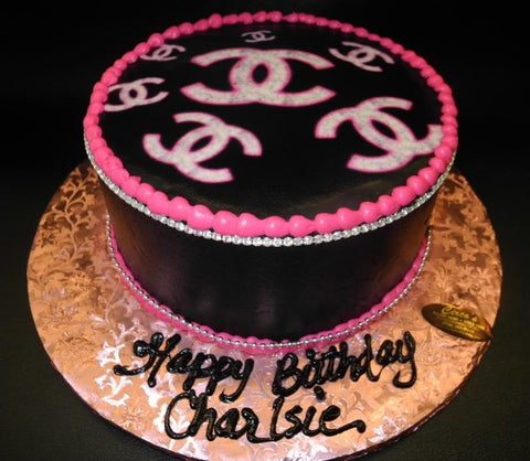 Channel Logo Edible Image Icing Cake with Rhinestones