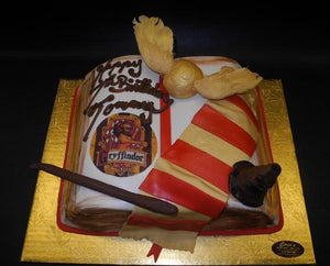 Harry Potter Book Cake with Edible Fondant Hat, Wand and scarf
