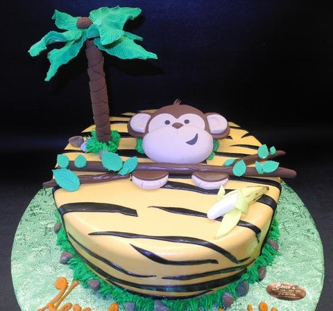 Safari Monkey Fondant Cake with Edible Tree and Banana