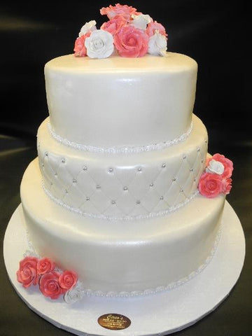 Ivory Cake with Pink sUGAR Flowers