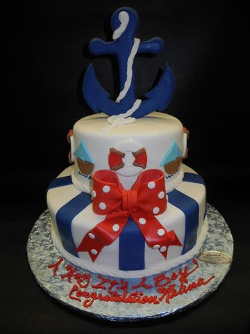 Nautical Baby Shower Cake with 3D Anchor
