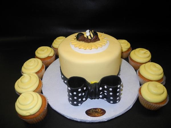 Bumble Bee Baby Sleeping Cake with Cupcakes