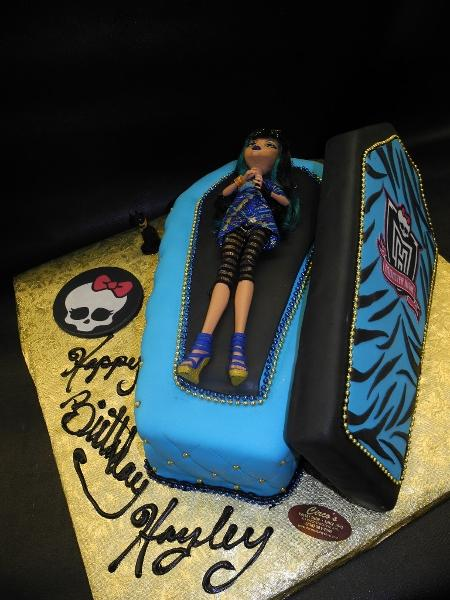 Monster High Open Coffin Fondant Custom Cake
