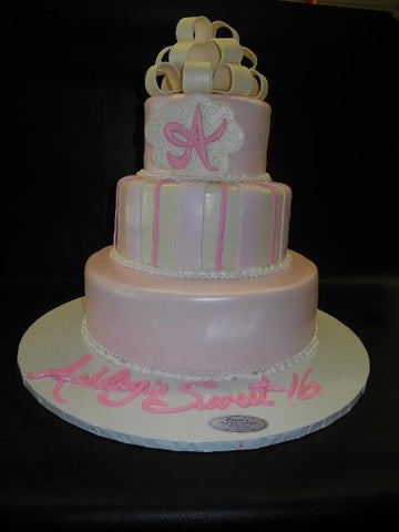 Pink and Ivory Cake with Edible Inital