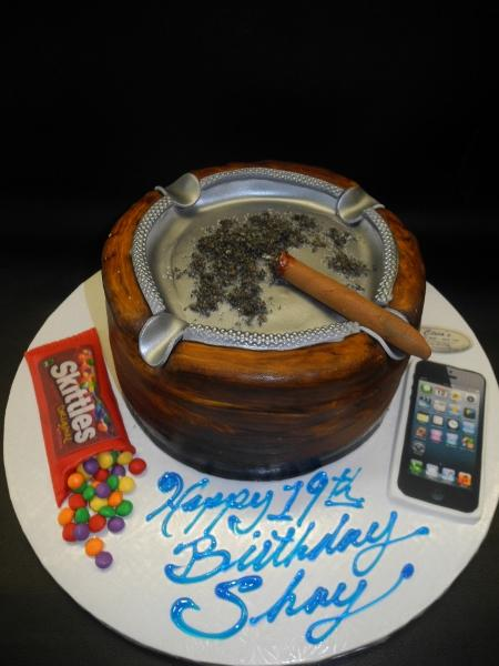 Cigar Ash Tray with Edible Skittle Candy and I phone
