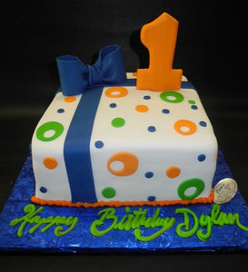 First Birthday Gift Box with Orange, Navy Blue, and Green Dots