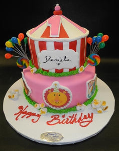 Circus Theme Cake with Balloons and Fondant Animals to Decorate