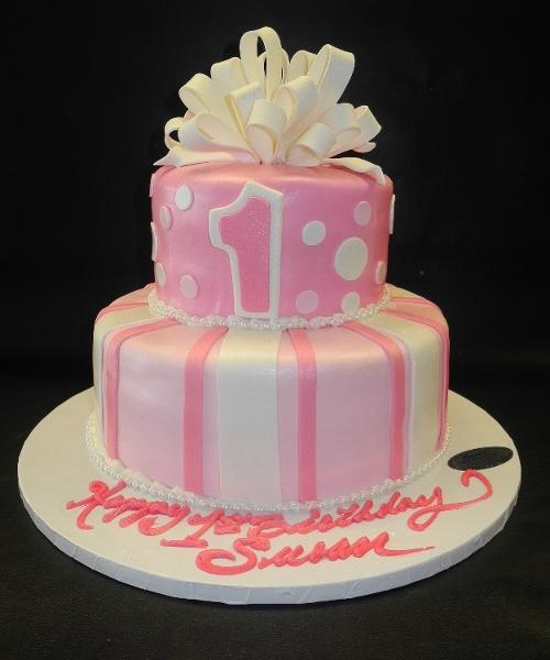 Pink and White Fondant Cake with Loop Bow, Polka Dots and Stripes