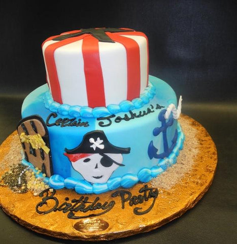 Pirate Nautical Theme Fondant Cake with Fondant Cut Outs